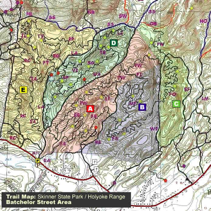 Trail Map Batchelor Street Skinner State Park Holyoke Range